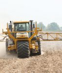 liquid fertilizer being applied to field