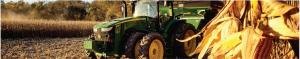 John Deere tractor in corn field