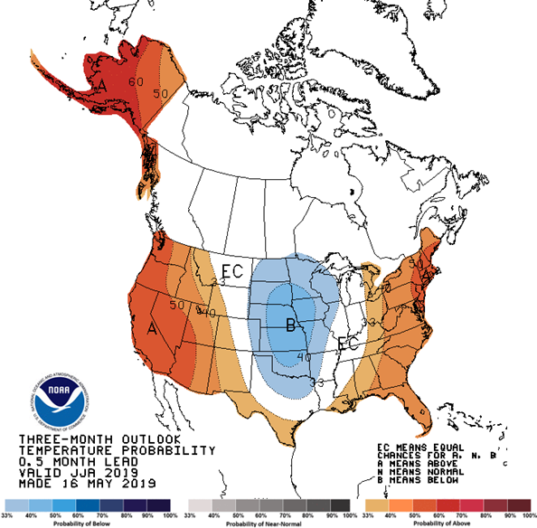 3 month outlook o3 month outlook temperature  probability for the continental USA