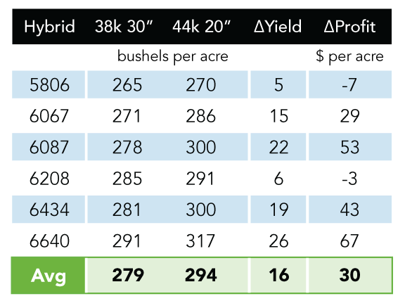 Table with hybrid comparisons